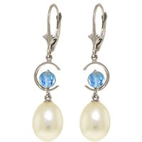 Pearl & Blue Topaz Drop Earrings in 9ct White Gold - Qp Jewellers Gifts