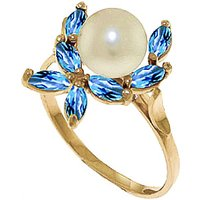 Pearl & Blue Topaz Ivy Ring in 9ct Gold - Fashion Gifts
