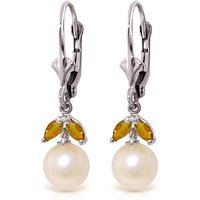 Pearl and Citrine Dewdrop Earrings in 9ct White Gold