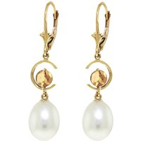 Pearl & Citrine Drop Earrings in 9ct Gold - Qp Jewellers Gifts
