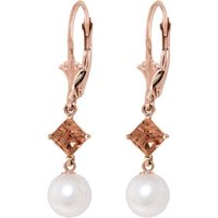 Pearl & Citrine Drop Earrings in 9ct Rose Gold - Qp Jewellers Gifts
