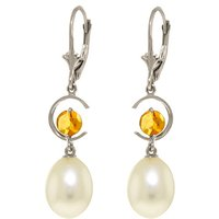 Pearl & Citrine Drop Earrings in 9ct White Gold - Qp Jewellers Gifts