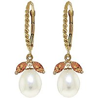Pearl and Citrine Snowdrop Twist Earrings in 9ct Gold