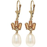 Pearl and Citrine Ternary Drop Earrings in 9ct Gold