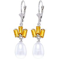 Pearl and Citrine Ternary Drop Earrings in 9ct White Gold
