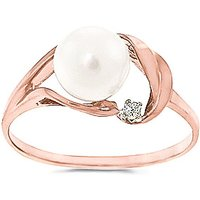 Pearl and Diamond Ring in 9ct Rose Gold