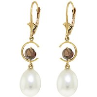 Pearl & Garnet Drop Earrings in 9ct Gold - Qp Jewellers Gifts