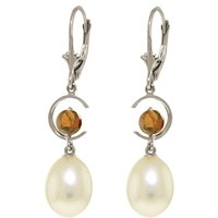 Pearl & Garnet Drop Earrings in 9ct White Gold - Qp Jewellers Gifts