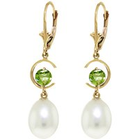 Pearl & Peridot Drop Earrings in 9ct Gold - Qp Jewellers Gifts