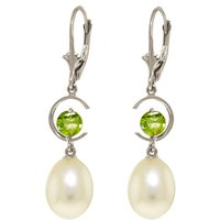 Pearl & Peridot Drop Earrings in 9ct White Gold - Qp Jewellers Gifts