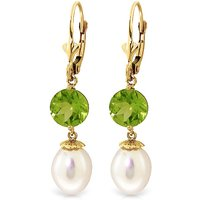 Pearl and Peridot Droplet Earrings in 9ct Gold