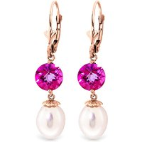 Pearl & Pink Topaz Droplet Earrings in 9ct Rose Gold - Pink Gifts