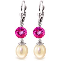 Pearl & Pink Topaz Droplet Earrings in 9ct White Gold - Pink Gifts