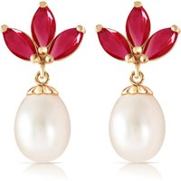 Pearl and Ruby Petal Drop Earrings in 9ct Gold