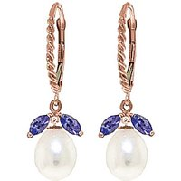 Pearl and Tanzanite Snowdrop Twist Earrings in 9ct Rose Gold
