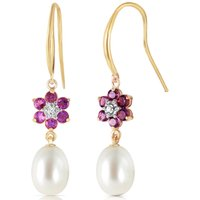 Pearl, Diamond and Amethyst Daisy Chain Drop Earrings in 9ct Gold