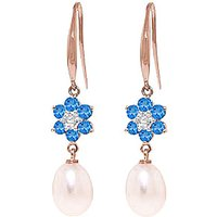 Pearl, Diamond and Blue Topaz Daisy Chain Drop Earrings in 9ct Rose Gold