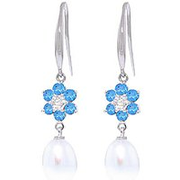 Pearl, Diamond and Blue Topaz Daisy Chain Drop Earrings in 9ct White Gold