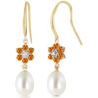 Pearl, Diamond and Citrine Daisy Chain Drop Earrings in 9ct Gold
