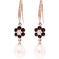 Pearl, Diamond and Garnet Daisy Chain Drop Earrings in 9ct Rose Gold