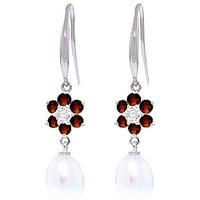 Pearl, Diamond and Garnet Daisy Chain Drop Earrings in 9ct White Gold