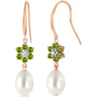 Pearl, Diamond and Peridot Daisy Chain Drop Earrings in 9ct Rose Gold