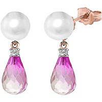 Pearl, Diamond & Pink Topaz Stud Earrings in 9ct Rose Gold - Qp Jewellers Gifts