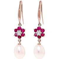Pearl, Diamond and Ruby Daisy Chain Drop Earrings in 9ct Rose Gold