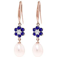 Pearl, Diamond and Sapphire Daisy Chain Drop Earrings in 9ct Rose Gold