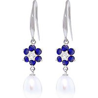Pearl, Diamond and Sapphire Daisy Chain Drop Earrings in 9ct White Gold