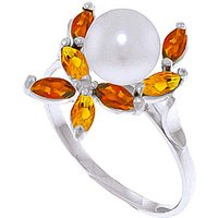 Pearl, Garnet and Citrine Ivy Ring in 9ct White Gold