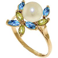 Pearl, Peridot & Blue Topaz Ivy Ring in 9ct Gold - Fashion Gifts