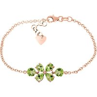 Peridot Adjustable Bracelet 3.15 ctw in 9ct Rose Gold