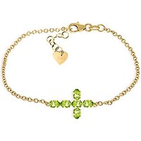 Peridot Adjustable Cross Bracelet 1.7 ctw in 9ct Gold
