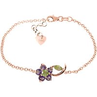Peridot and Amethyst Adjustable Flower Petal Bracelet in 9ct Rose Gold
