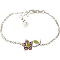 Peridot and Amethyst Adjustable Flower Petal Bracelet in 9ct White Gold