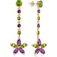 Peridot and Amethyst Daisy Chain Drop Earrings in 9ct Gold