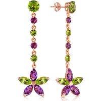 Peridot and Amethyst Daisy Chain Drop Earrings in 9ct Rose Gold