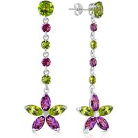 Peridot and Amethyst Daisy Chain Drop Earrings in 9ct White Gold