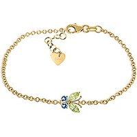 Peridot and Blue Topaz Adjustable Butterfly Bracelet in 9ct Gold