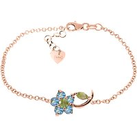 Peridot and Blue Topaz Adjustable Flower Petal Bracelet in 9ct Rose Gold