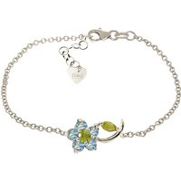 Peridot and Blue Topaz Adjustable Flower Petal Bracelet in 9ct White Gold