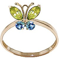 Peridot & Blue Topaz Butterfly Ring in 9ct Gold - Butterfly Gifts