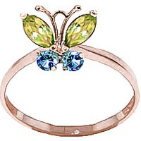 Peridot & Blue Topaz Butterfly Ring in 9ct Rose Gold - Butterfly Gifts