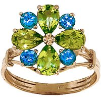 Peridot & Blue Topaz Sunflower Cluster Ring in 9ct Gold - Fashion Gifts