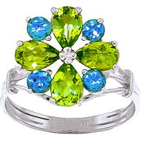Peridot and Blue Topaz Sunflower Cluster Ring in 9ct White Gold