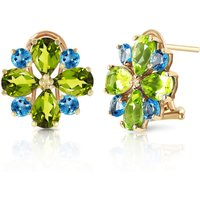 Peridot & Blue Topaz Sunflower Stud French Clip Earrings in 9ct Gold - French Gifts