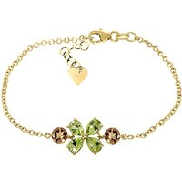 Peridot and Citrine Adjustable Bracelet in 9ct Gold
