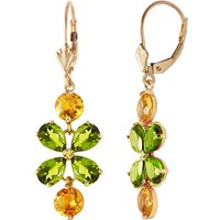 Peridot & Citrine Blossom Drop Earrings in 9ct Gold - Jewellery Gifts