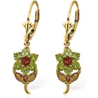 Peridot & Citrine Flower Petal Drop Earrings in 9ct Gold - Flower Gifts